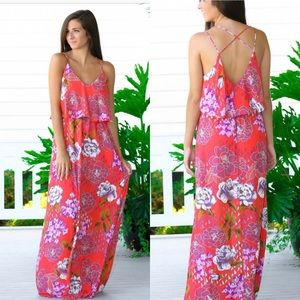 Everly Floral Red Maxi Dress
